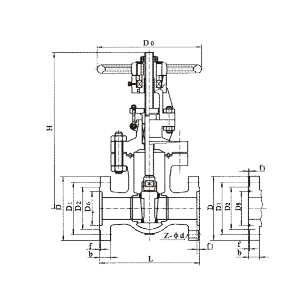 Medium and high pressure flange wedge gate valve